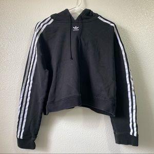 Adidas Originals Trefoil Black Cropped Hoodie L